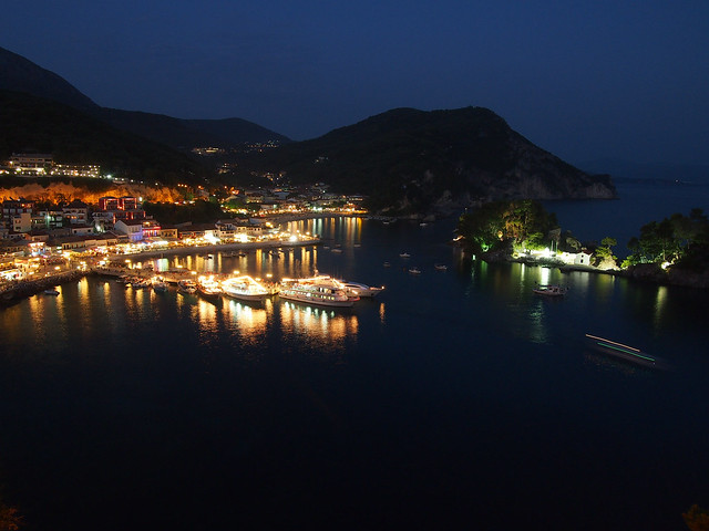 Parga, Greece at night