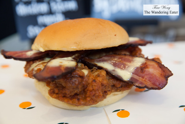 Fuku spicy fried chicken bacon ranch sandwich by Chef David Chang