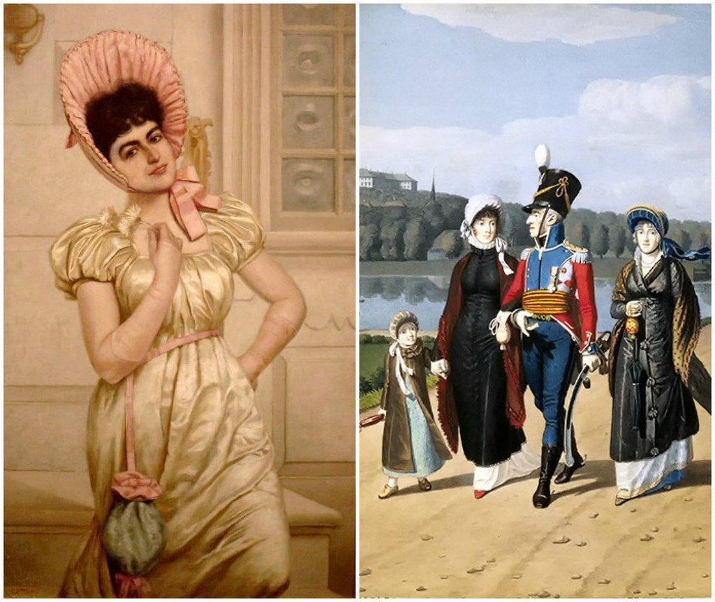 Left: A Colonial Coquette by Charles Henry Turner. Right: Frederik VI of Denmark and family out for a stroll by Johannes Senn, 1813