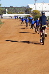Binnu Primary School ride out of town with the team
