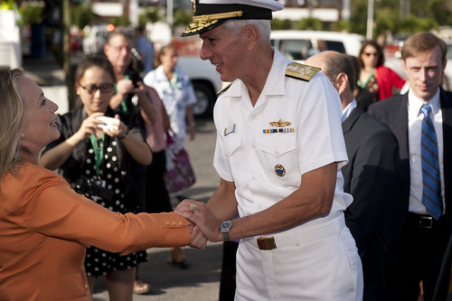 Secretary Clinton With Admiral Locklear at Pacific Islands Forum