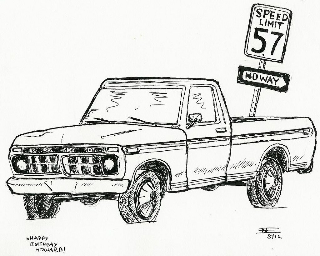 birthday card with 1976 ford f150 pickup truck