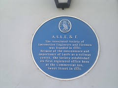 Photo of Associated Society of Locomotive Engineers and Firemen blue plaque