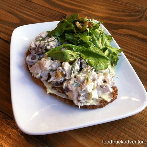 Toast - chicken salad, grapes, walnut, tarragon, Greek yogurt aioli #toast #chickensalad #food #foodporn #brunch #thesycamorekitchen