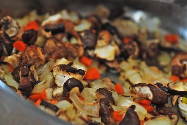 Preparing sauce for lamb shoulder chops