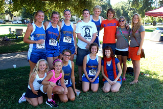 The team and its supporters at the end of the Redlands race