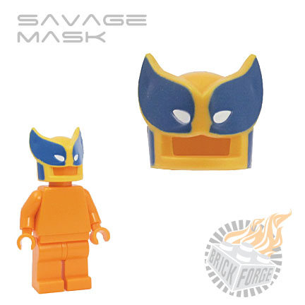 Savage Mask - Bright Light Orange (blue & white print)