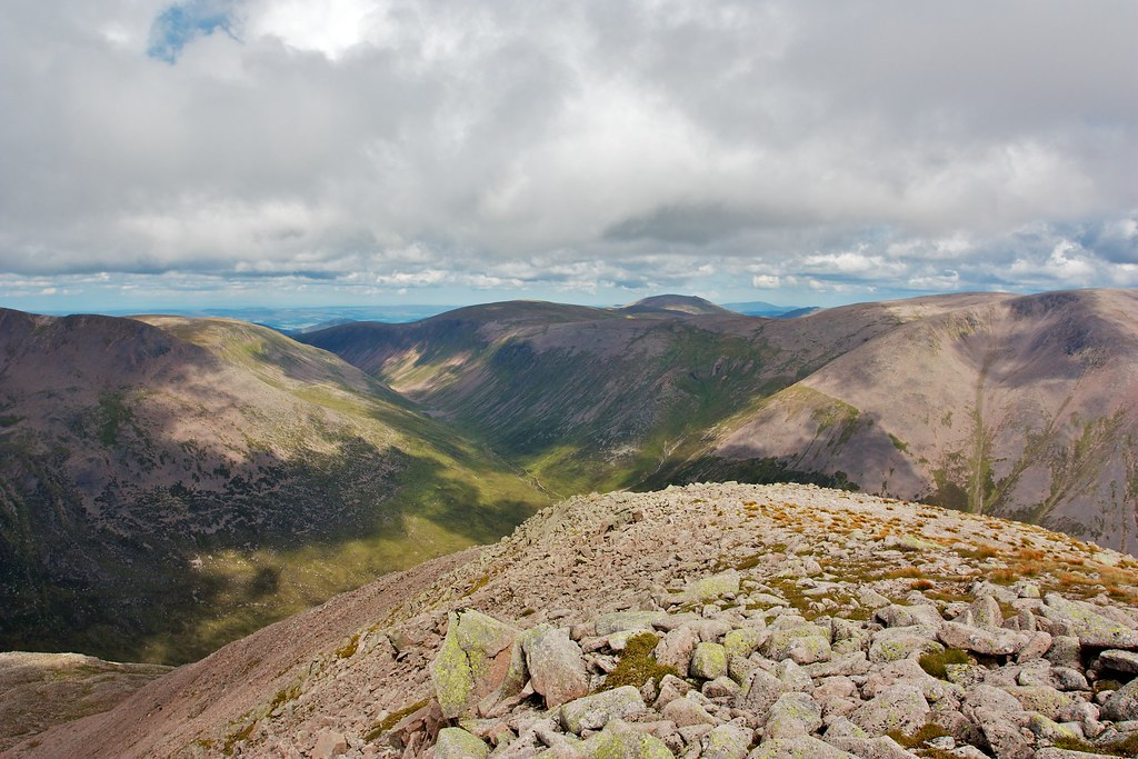 The Lairig Ghru from Cairn Toul's northeast ridge