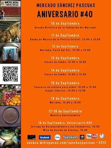 #hyperlocal poster: Programa del Aniversario del Mercado Sánchez Pascuas #oaxacatoday #mexiconow #rtyear2012