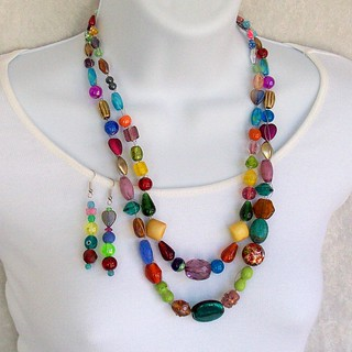 Bead crochet necklace set, multicolor