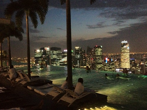 Marina Bay Sands pool view at night