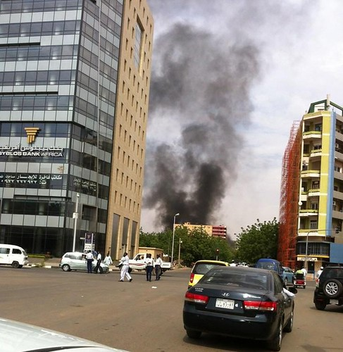 German embassy in Khartoum, Sudan burning in the background. The US has ordered its diplomatic personnel out of Sudan, Tunisia and other states in the aftermath of anti-American demonstrations. by Pan-African News Wire File Photos