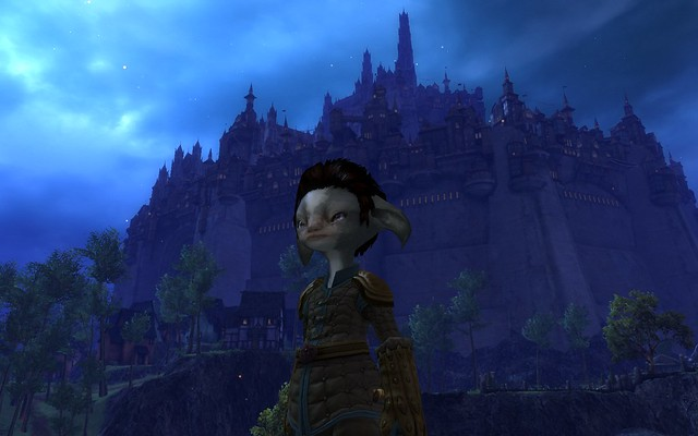 My Asura Character with the Human city, Divinity's Reach, in the background.