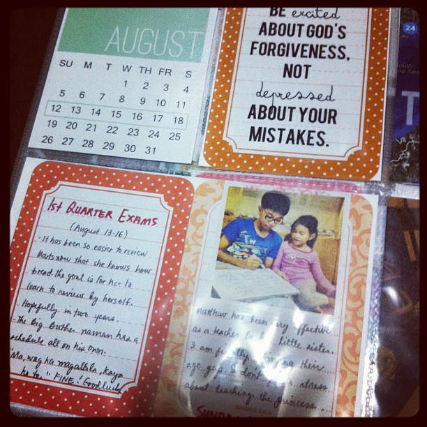 Regular weekly features - calendar + quote apt for the week #projectlife
