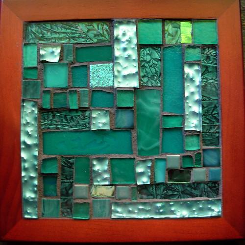 Teal Mosaic Trivet for Ovarian Cancer Awareness by Margaret Almon