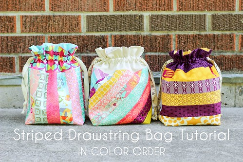 Striped Drawstring Bag Tutorial by Jeni Baker