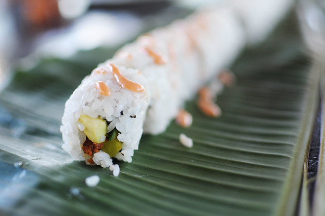 sushi on a banana leaf