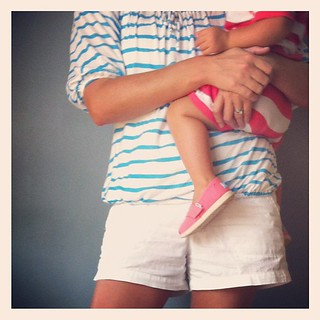 Matchy-Matchy in stripes and big girl shoes.