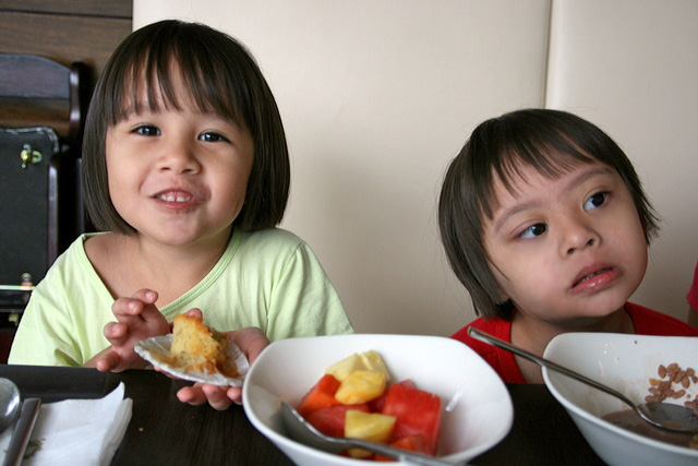 Kids happy with breakfast