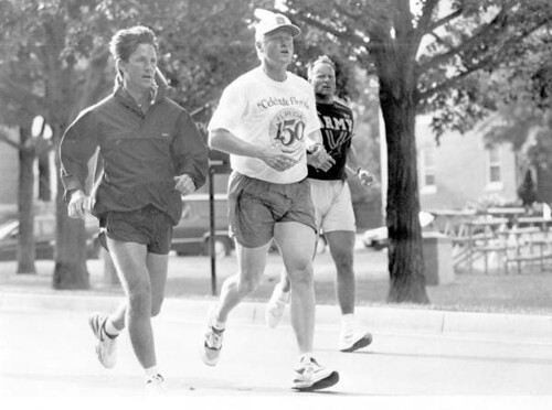 President Bill Clinton jogging while wearing a Florida Sesquicentennial T-shirt: Washington, D.C.