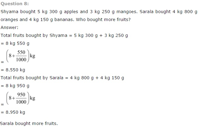 NCERT Solutions for Class 7th Maths Chapter 2 - Fractions and Decimals
