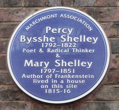 Photo of Percy Bysshe Shelley and Mary Shelley blue plaque