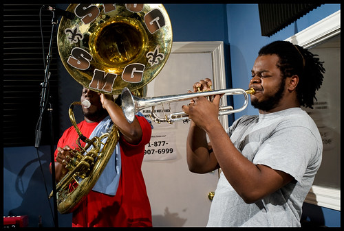 Clifton Smith and Christopher Cotton of the Stooges Brass Band in the studio.  rhrphoto,com