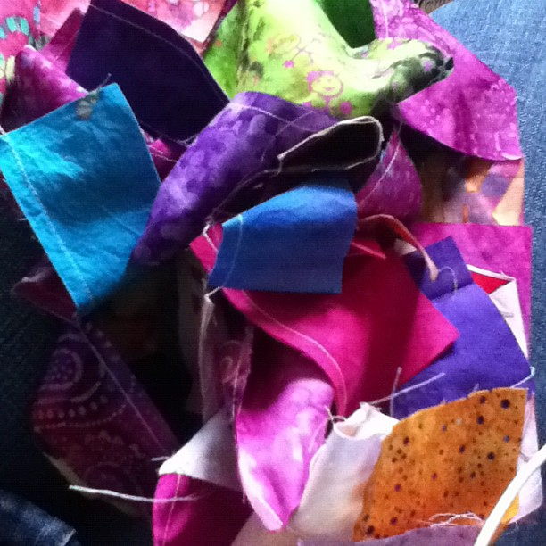 Randomly sewn together batik scraps. @liveacolorfullife some of there were yours.
