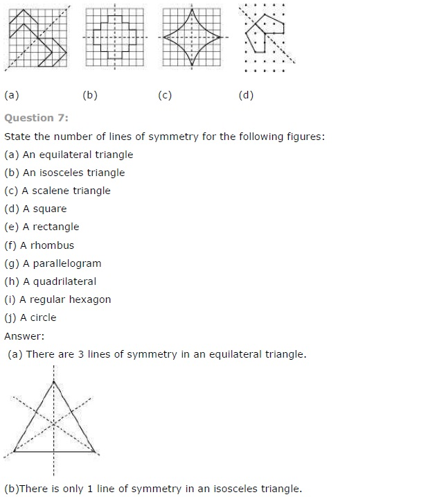 NCERT Solutions for Class 7th Maths Chapter 14 - Symmetry