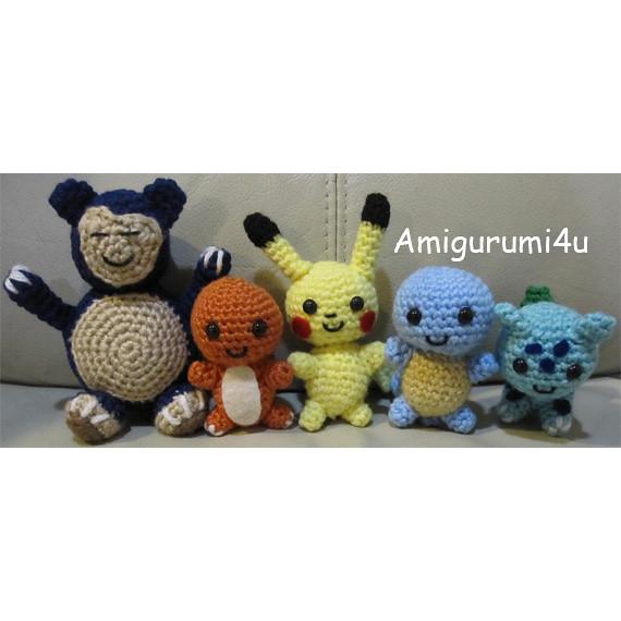 Amigurumi Pokemon Snorlax : Pokemon Bulbasaur Charmander Squirtle Pikachu Snorlax ...