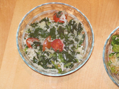 Paleo Risotto with tomatoes, spinach, and basil