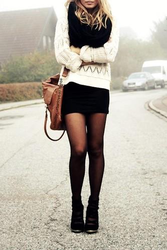 11 black dress white sweater