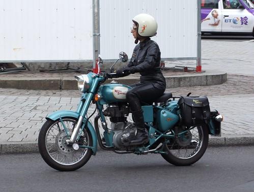 Enfield Biker Lady