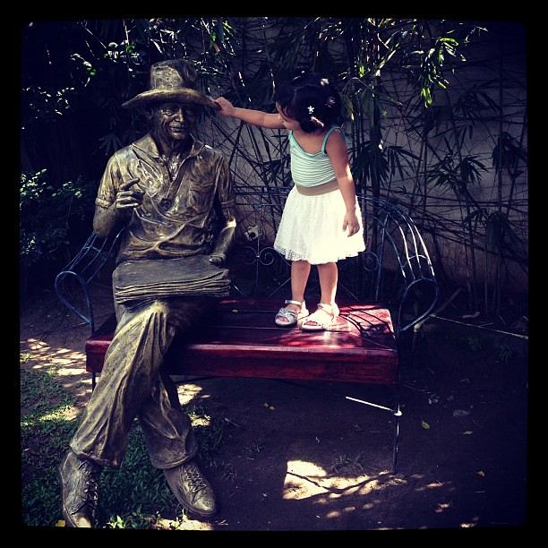 Stella and sculpture of Don Chino Roces at Casa Roces