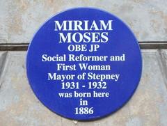 Photo of Miriam Moses blue plaque