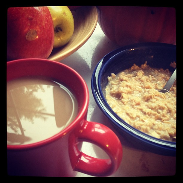Homemade soy pumpkin chai & pumpkin oatmeal. Yum.