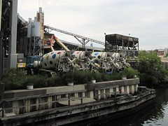 Polka dot concrete trucks, by Gowanus Canal