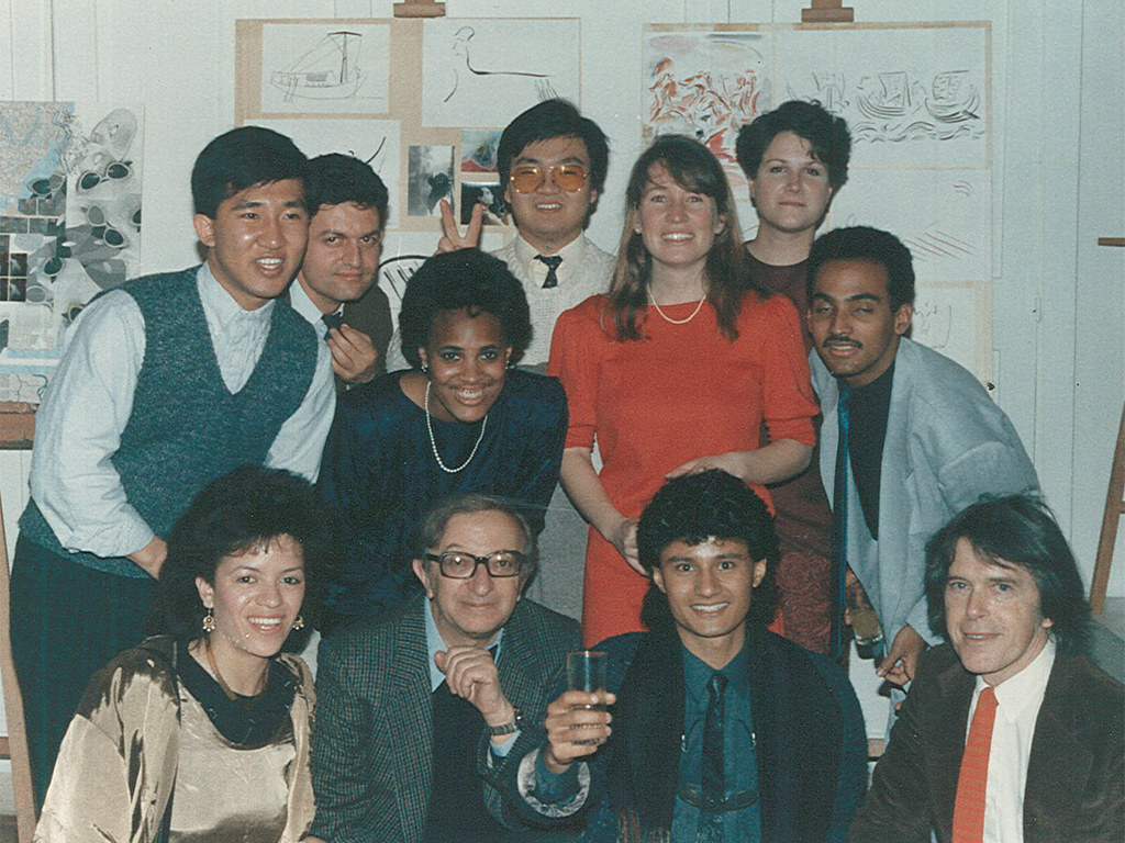 In the art studio of Palazzo Massimo during the 1980's. Top row: Gieuseppe, James Ahn, Marie; Middle row: David Kim, me, Hadley, Gerville; Bottom: Nicole, Professor Beniniamo Placido, Ziad Aazan, Professor Charles Pearman.   photo / Anna Rita Flati