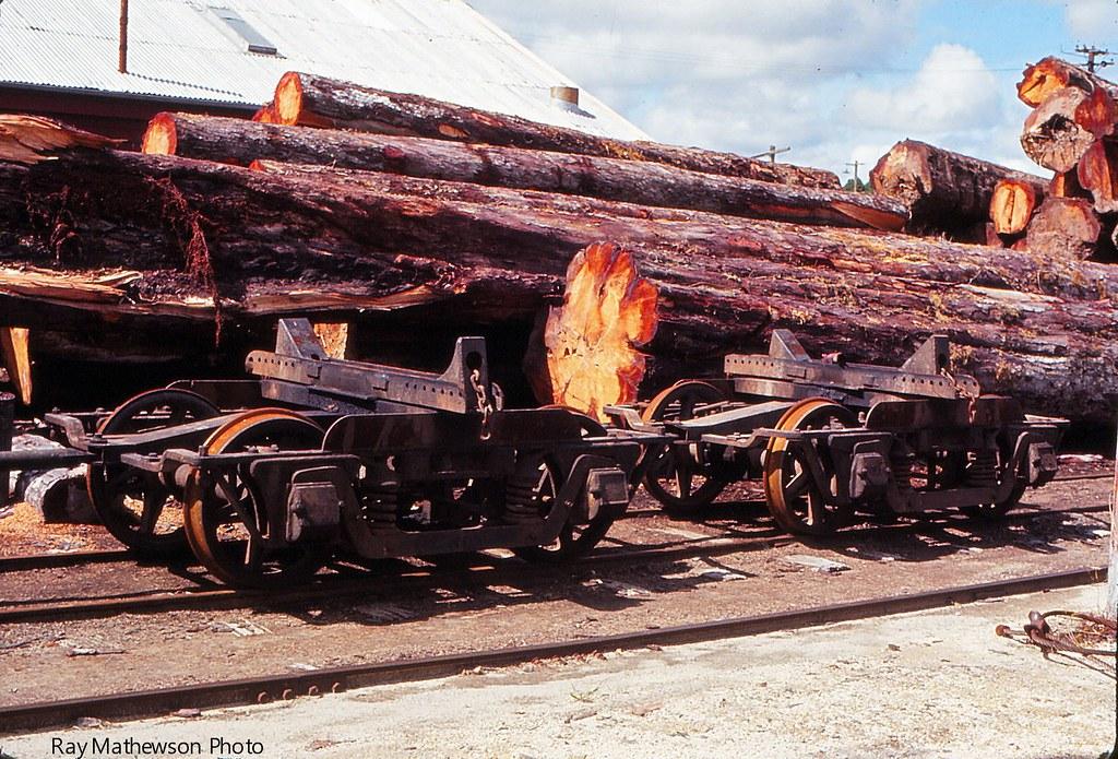 Log bogies at the Mamaku mill Feb 1971