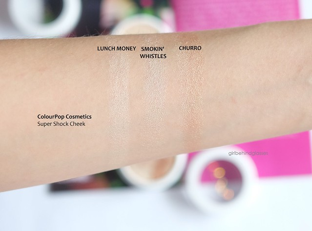 ColourPop Super Shock Cheek Lunch Money Smokin' Whistles Churro swatch
