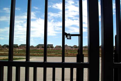 locked out of a 'gated community,' Plano TX (by: Dean Terry for the film 'Subdivided,' creative commons)