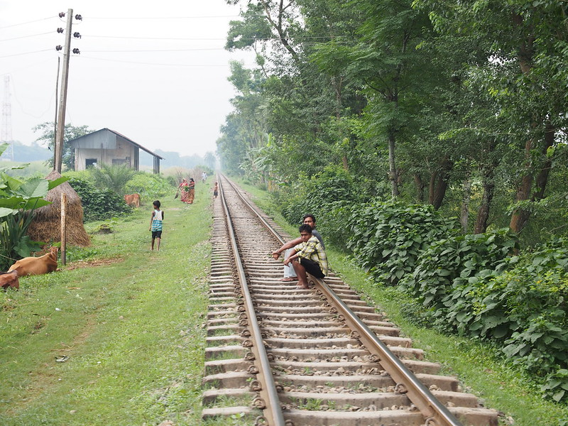 Sitting on railway track