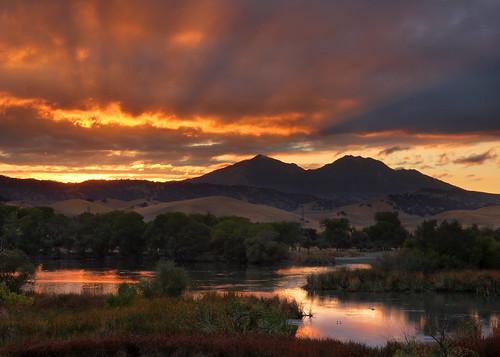 california sunset reflection fall reservoir bayarea eastbay diablo mtdiablo marshcreek