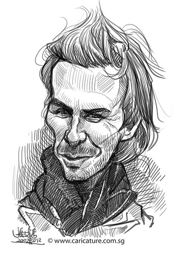 digital caricature sketch of David Beckham