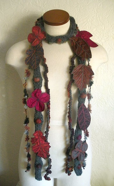 Long and Leafy Scarf- Grey with Pomegranate, Fuchsia, Plum, and Sienna Embroidered Leaves