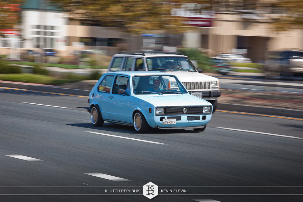 blue vw mk1 golf rabbit gti coupe at h2oi 2012 3pc wheels static airride low slammed coilovers stance stanced hellaflush poke tuck negative postive camber fitment fitted tire stretch laid out hard parked seen on klutch republik