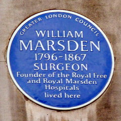 Photo of William Marsden blue plaque