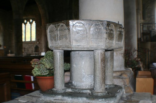 Font at Bosham Church, England