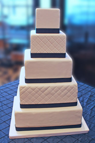 how to make a square wedding cake stand classic white square quilted wedding cake with navy ribbon 15858