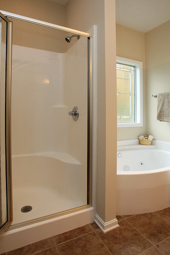Step in shower in master suite at Flatrock Ridge